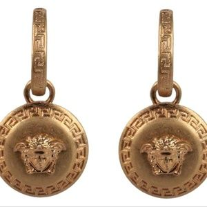 NEW Versace Gold Tone Medusa Earrings